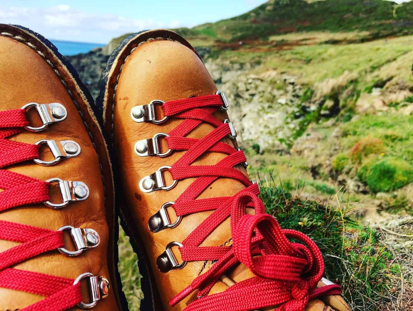 vintage hiking boots red laces