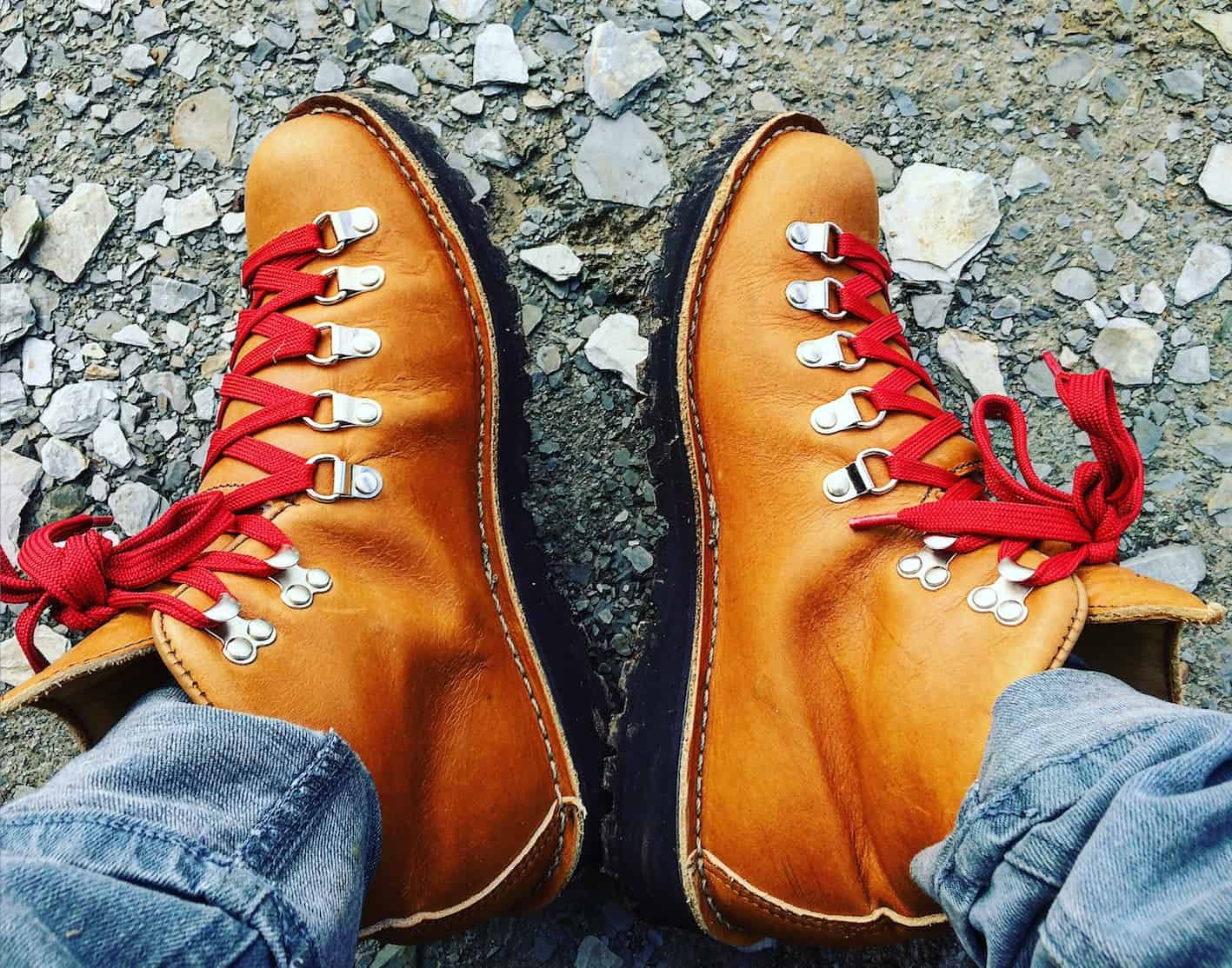 rocking red laces on Danner's traditional classic women's hiking boot