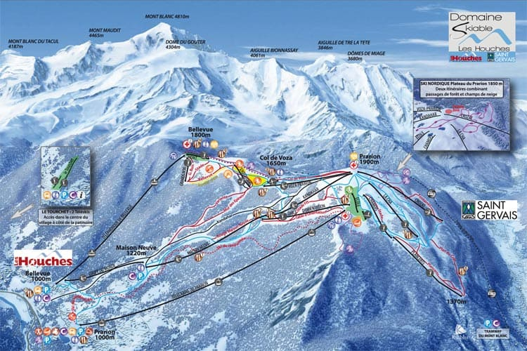 Les Houches piste map showing Mont Blanc Tramway