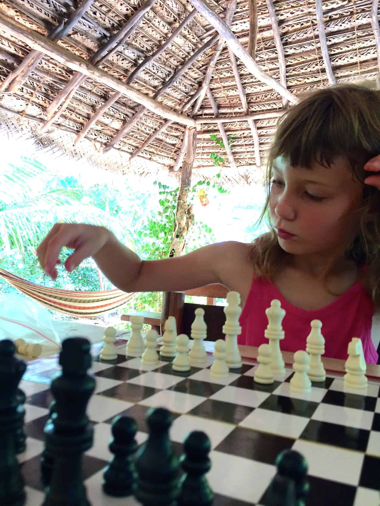 playing chess at hilltop cabanas sri lanka