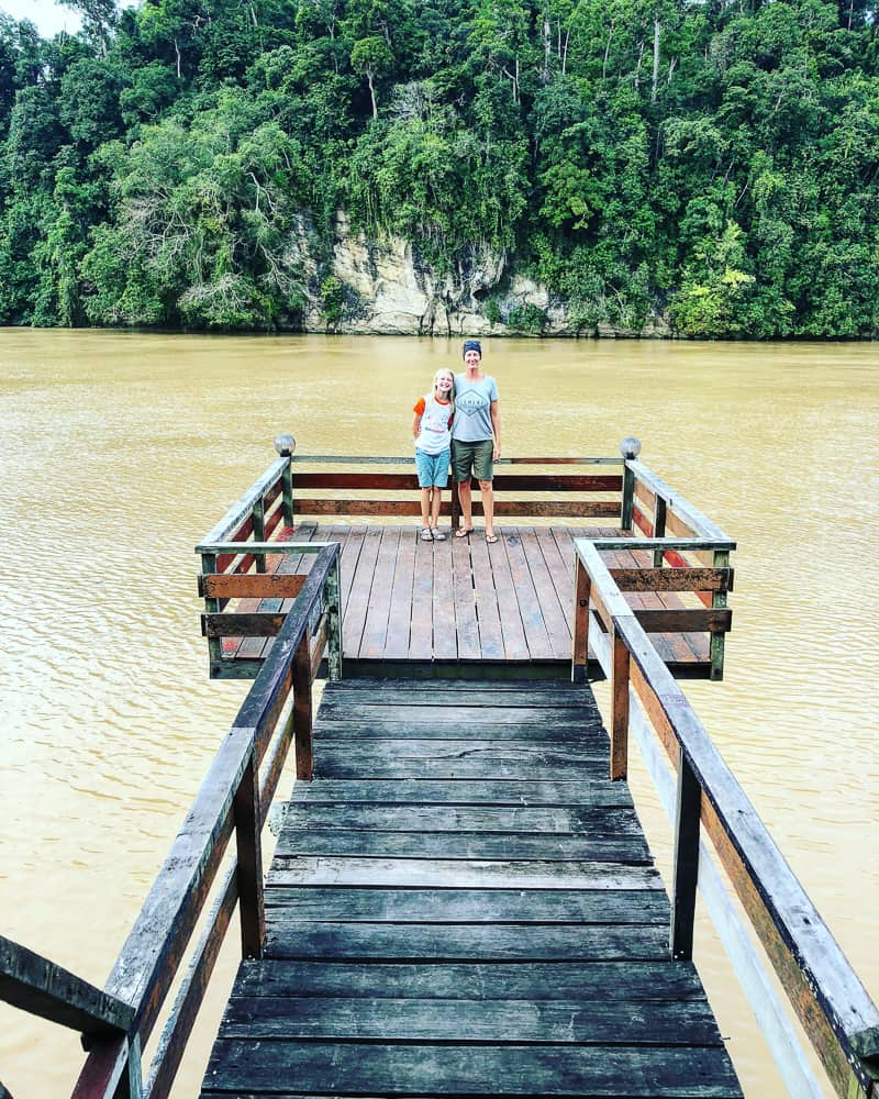 jetty on kinabatangan river in borneo