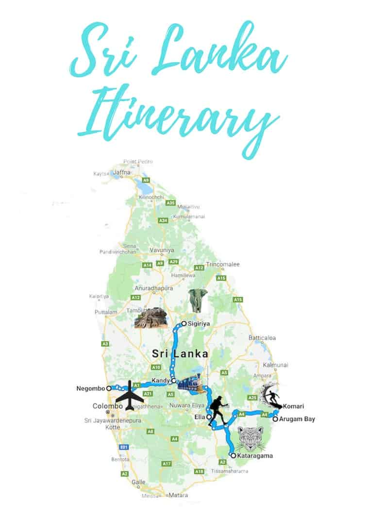 Sri Lanka 3 week itinerary map