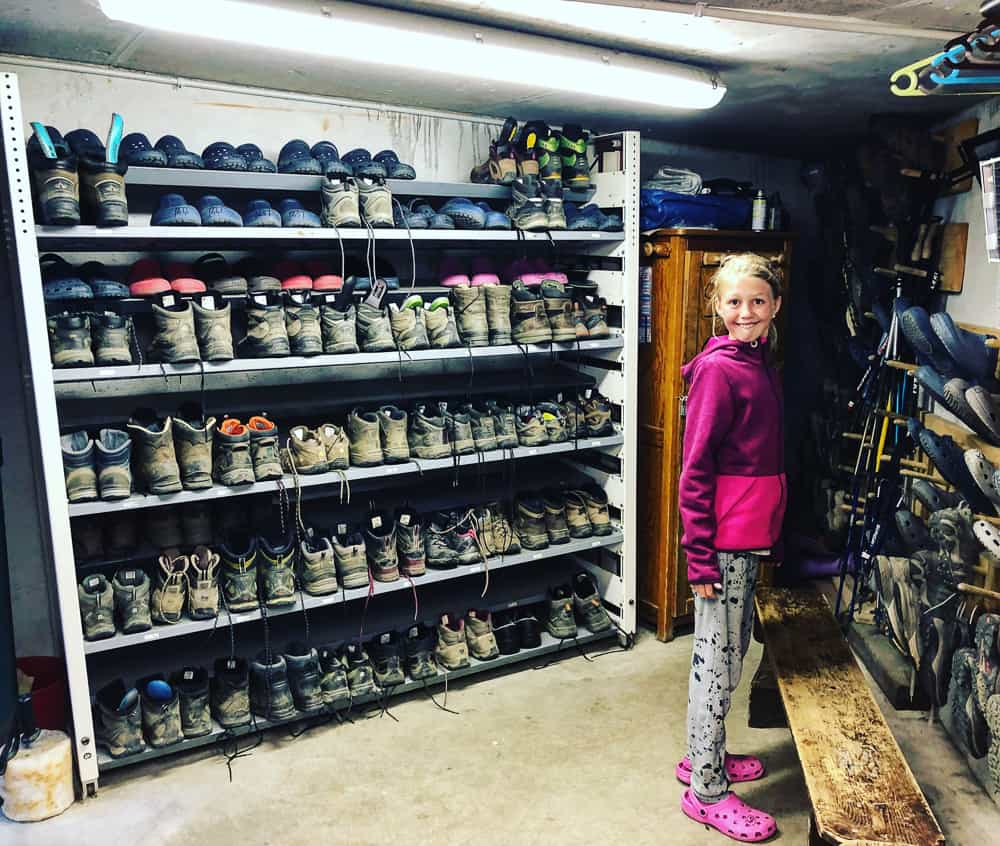 boot room on the tour du Mont Blanc