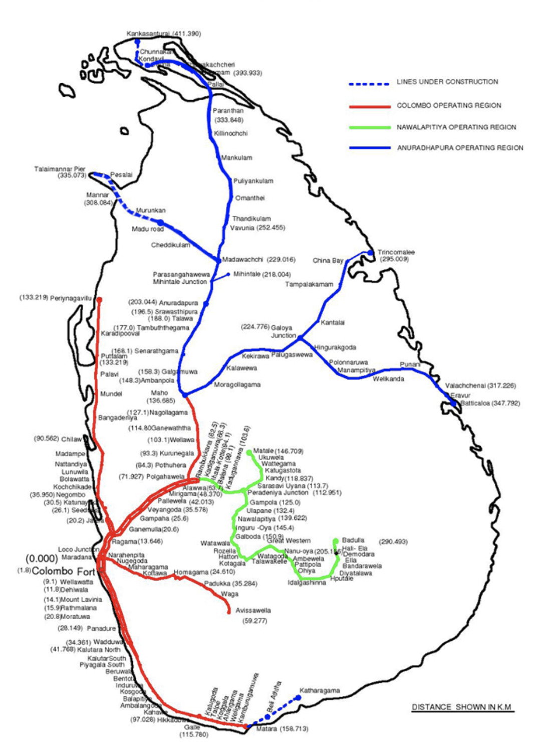 Sri Lanka railway map